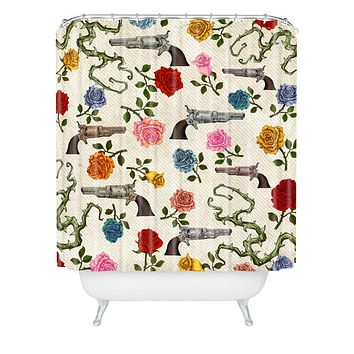 Belle13 Sweet Guns And Roses Shower Curtain
