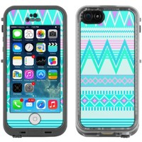 Skin Decal for LifeProof Apple iPhone 5C Case - Aztec Andes Tribal White Teal