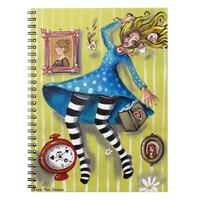 Alice Down the Rabbit Hole Spiral Note Books