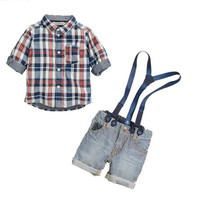 Children Clothes 2014 Boys summer short-sleeved Plaid Shirt+ casual sling strap Pants 2 pc Sets. Kids Clothing Baby Set.