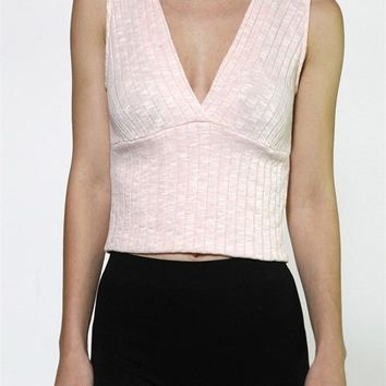 Sexy Solid V Neck Sleeveless Two Toned Knit Cropped Jersey Cami Tank Top