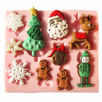 New 3D M0006 Christmas snow Reindeer tree silicone fondant cake molds soap chocolate mould for the kitchen baking = 1946718148