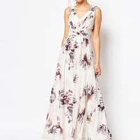 Little Mistress | Little Mistress Plunge Front Chiffon Maxi Dress in Floral at ASOS