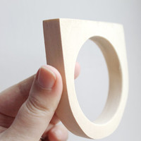 15 mm Wooden bangle unfinished round with two corners - natural eco friendly GE15