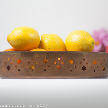 Vintage Moroccan Fruit Bowl / Oval Dish / Tray: Perforated Copper Oval Fruit Bowl