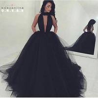 Black Puffy Ball Gown Prom Dresses 2017 Sexy Backless Tulle Long Prom Party Gowns Vestido Formatura Longo