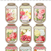 Digital Shabby Chic Romantic Roses Mason Jar Tags / vintage kraft paper collage sheet / two sizes / downloadable / printable