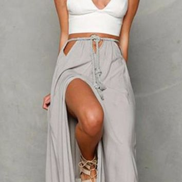 Both Sides Of The Slit Hollow Lace Skirts