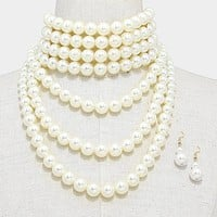 """14.50"""" cream faux pearl multi layered choker necklace 1.75"""" earrings bridal prom"""