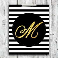 customized Initial Printable Digital Download - Art - Canvas - Poster - Print - Home decor - Typography - wall art - framed art - gold foil