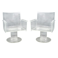 Pair of Lucite Lounge Chairs