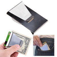 Money Clip Credit ID Card Cash Holder Double Sided Stainless Steel