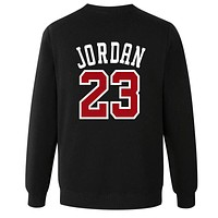 Jordan 23 Loose sweater size male in spring and autumn youth sports leisure T-shirt jumper tide Black