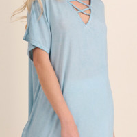 Umgee Women's Washed Short Sleeve Top High Low Sky Blue