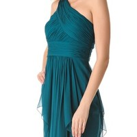 One Shoulder Chiffon Gown with Cascading Skirt