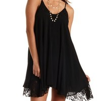 Lace Trim Trapeze Dress by Charlotte Russe
