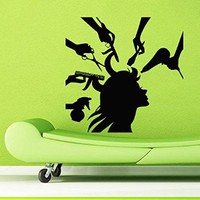 Wall Decor Vinyl Decal Sticker Words Woman Model Girl Hair Salon Comb Scissors Hairdryer Hair Stylist Beauty Salon Bedroom Living Room Home Interior Design Kg900