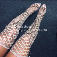 Sexy Laser Cutout Netted High Heel Gladiator Sandals 2016 Women Summer Thigh High Sandal Boots Lace Up Over the Knee Boot Shoes