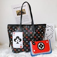 Louis Vuitton LV Neverfull Game On Handbag Shoulder Bag Two-Piece Set