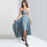 Backless Hollow Out Sexy Prom Dress One Piece Dress [28269412378]