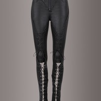 Punk Rave Black Faux Leather Lace Up Biker Skinny Fit Pants