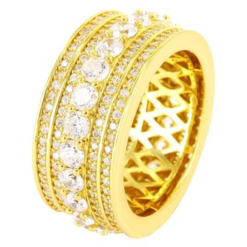 14k Gold Finish 3D Solitaire Silver Men's Ring Band