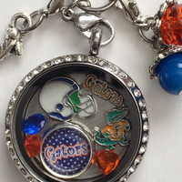Florida Gators Inspired Memory Locket Necklace W/Chain Gators Neckalce