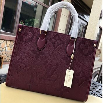 LV Louis vuitton Fashion New Monogram Print Leather Shoulder Bag Handbag Burgundy