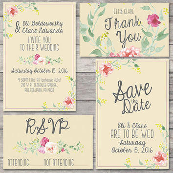 Wedding Invitation Suite Printable Custom DIY Do It Yourself Floral Watercolor Rose Tan Pink Handwritten Save the Date RSVP Thank You Card