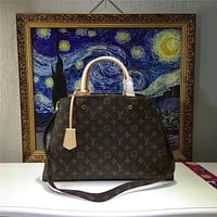 LV Louis Vuitton WOMEN'S MONOGRAM LEATHER LARGE HANDBAG SHOULDER BAG