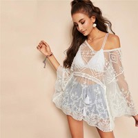 Sexy White Tassel Drawstring Waist Embroidered Mesh Top Without Bra Blouse Women Butterfly Sleeve Sheer Long Blouses
