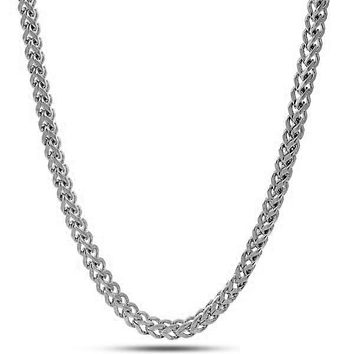 4mm, White Gold Stainless Steel Franco