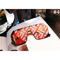 Fendi Tide brand men and women models large frame conjoined frameless letter printing polarized sunglasses #4