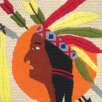 Needle Point Indian , Male Portrait , American Indian , Peace Pipe , Handmade , Embroidery , Needle Work , Made By Hand , Hand Embroidery