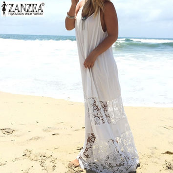Summer European Style 2015 Women Casual Loose Solid Patchwork Lace Beach Dress Sexy Strap Long Maxi White Dress Vestidos