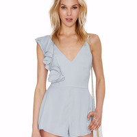 V-neck Spaghetti Strap Ruffled One Shoulder Romper