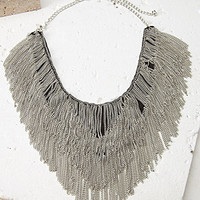 Chain Fringe Bib Necklace