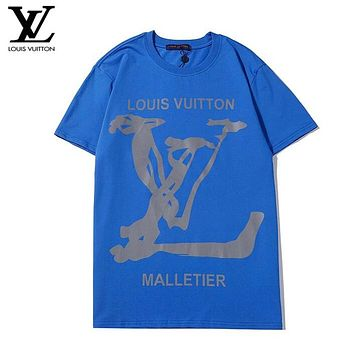 LV New fashion letter print couple top t-shirt Blue
