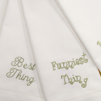 Family Conversation Embroidered Cloth Napkins - Set of 4 napkins