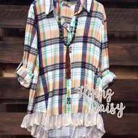 Plaid and Lace Button Down Tunic Top