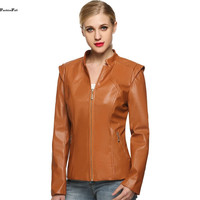 Cool Synthetic Leather Jacket Women Mandarin Collar Zipper Front Pockets Outerwear Leather Jackets Coats Chaquetas Mujer XXL 10