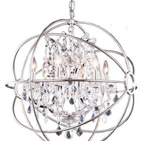 Metro - Small Orb Crystal Chandelier  (6 Light Modern Hanging Crystal Chandelier) - 800D25