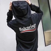 BALENCIAGA Classic Popular Women Men Casual Cotton Hoodie Sweater Sweatshirt Black