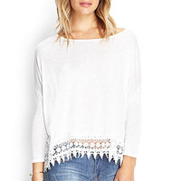 FOREVER 21 Crocheted Dolman Top Cream Large