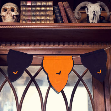Halloween Bunting party decoration Mini double sided orange black garland
