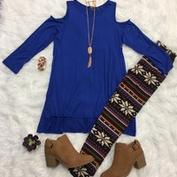 She's Royal Cold Shoulder Tunic