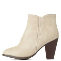Stone Dollhouse Side-Gored Chunky Heel Booties
