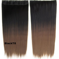 """Dip dye hairpieces New Fashion 24"""" Women Clip in on gradient wig Bath & Beauty Hair Ombre Hair Extensions Two Tone Straight hair Gradient Hair Extension Colorful Hairpieces GS-666 Black T8,1PCS"""