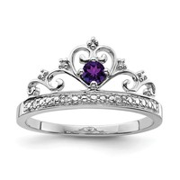 Sterling Silver Genuine Amethyst and Diamond Princess Crown Ring