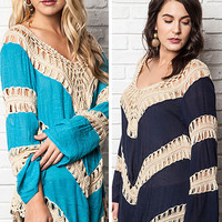 Maia Tunic with Crochet Accent XL to 2XL: Navy